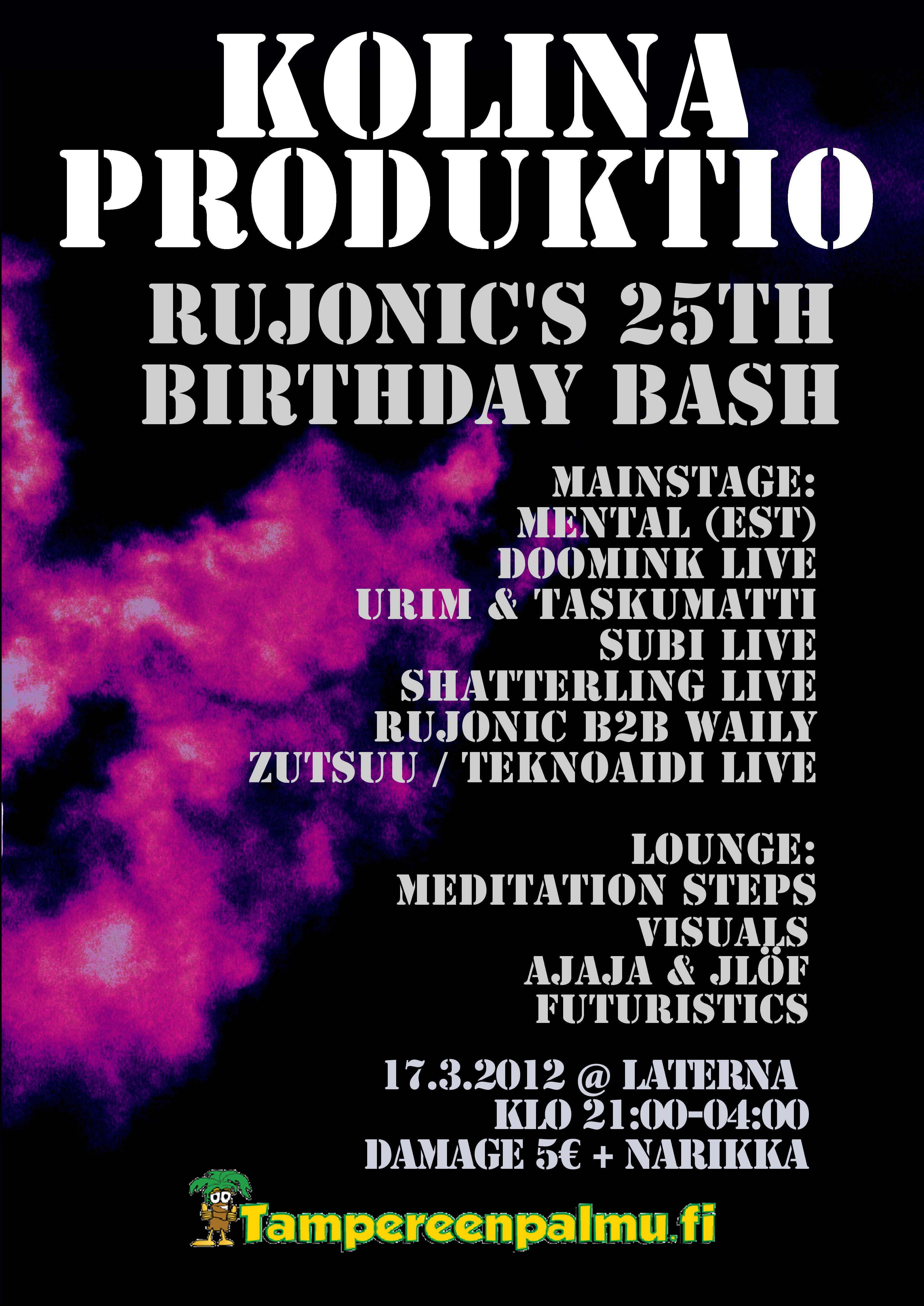 17.03.2012 Kolina-Produktio: RujoNic`s 25th Birthday Bash @ Laterna, Tampere (FI)